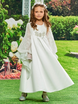 A-Line Matte Satin Long Sleeves Flower Girl Dress