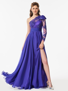 A Line One Sleeve Applique Long Prom Dress With Slit Side