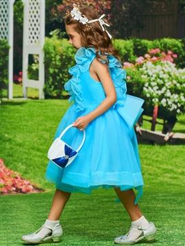 A-Line Organza Tea Length Flower Girl Dress