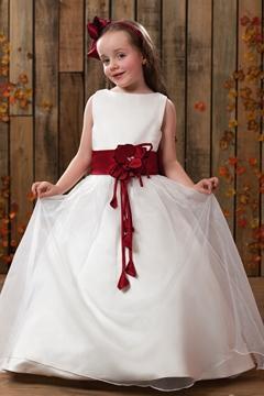A-Line Round-Neck Tea-length Flower Girl Dress