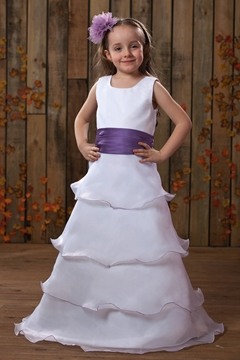 A-Line Round-Neck Tea-length Satin Flower Girl Dress
