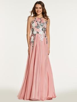 A Line Scoop Neck Sequin Applique Backless Prom Dress