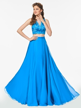 A Line Sheer Neck Two Pieces Long Prom Dress