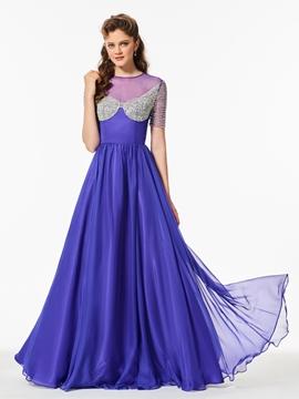 A Line Short Sleeve Beaded Long Prom Dress
