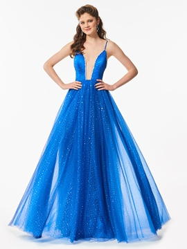 A Line Spaghetti Straps Beaded Backless Long Prom Dress