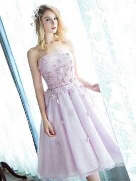 A-Line Strapless Pearls Flowers Knee Length Prom Dress