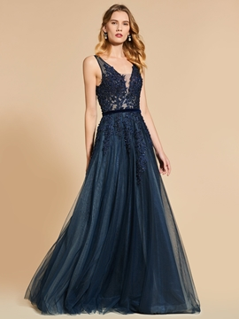 A Line Straps Applique Backless Evening Dress With Beadings
