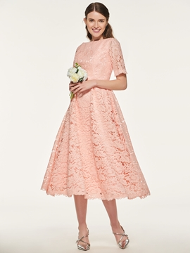 A Line Tea Length Lace Bridesmaid Dress
