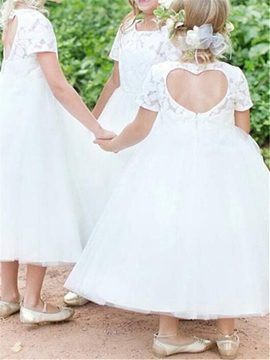 A-Line Tulle Tea Length Flower Girl Dress