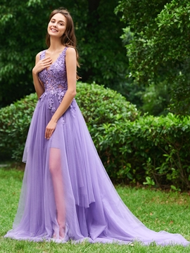 A Line V Neck Applique Long Backless Prom Dress