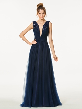 A-Line V Neck Appliques Beading Backless Prom Dress