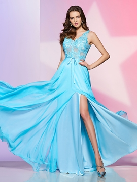 A Line V Neck Side Slit Lace Chiffon Floor Length Long Prom Dress