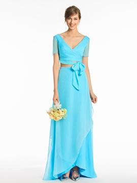 A Line V Neck Two Pieces Bridesmaid Dress