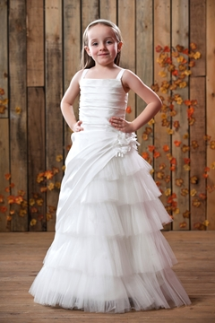 A-Line White Straps Taffeta Flower Girl Dress