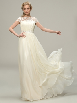 Amazing A Line Jewel Lace Long Bridesmaid Dress