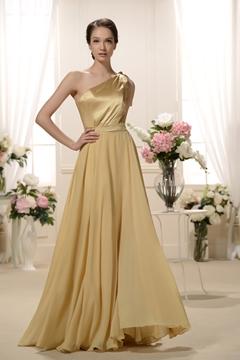 Attractive Pleats A-Line One-Shoulder long Bridesmaid Dress