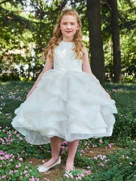 Ball Gown Lace Tea Length Flower Girl Dress