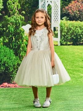 Ball Gown Tea Length Flower Girl Party Dress