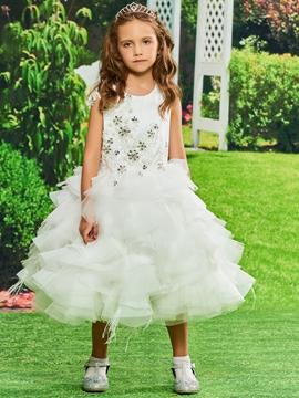 Ball Gown Tulle Tea Length Flower Girl Dress