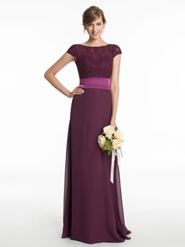 Beautiful Bateau Lace Long Bridesmaid Dress
