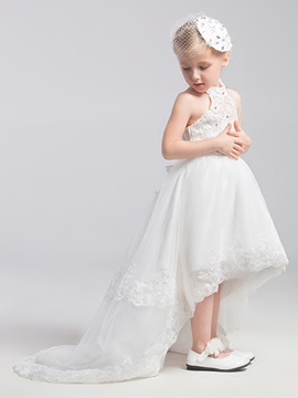 Beautiful Halter Asymmetry Flower Girl Dress