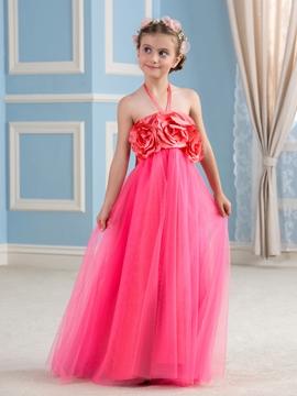 Beautiful Halter Empire Flower Girl Dress