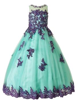 Beautiful Jewel Appliques Beaded Floor Length Flower Girl Dress
