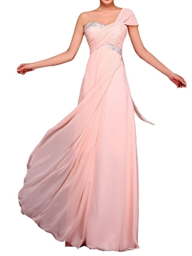Beautiful One Shoulder Empire Long Bridesmaid Dress