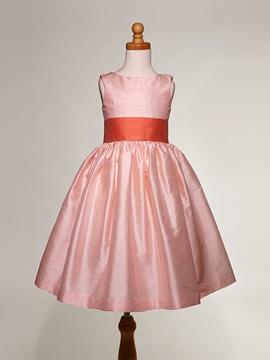 Beautiful Pink Jewel A-line Sash Flower Girl Dress