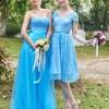 Beautiful Short Sleeves Lace Knee Length Bridesmaid Dress