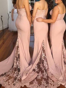 Beautiful Spaghetti Straps Lace Mermaid Bridesmaid Dress