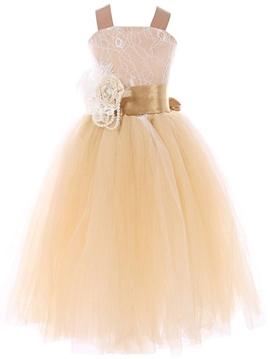 Beautiful Straps A Line Flower Girl Dress