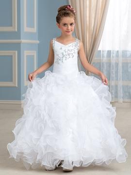 Beautiful Straps Beading Flower Girl Dress