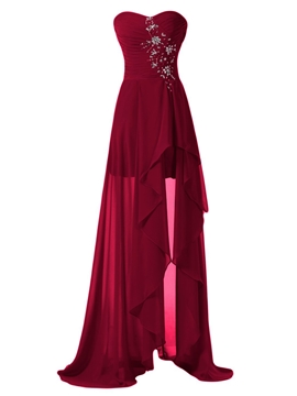 Beautiful Sweetheart Asymmetry Bridesmaid Dress