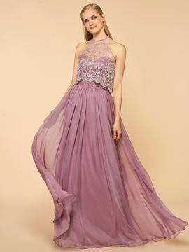 Charming Halter Beaded Lace A Line Long Bridesmaid Dress