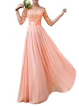 Charming Lace A Line Long Bridesmaid Dress