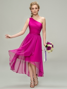 Charming One-Shoulder Ruched A-Line High-Low Bridesmaid Dress