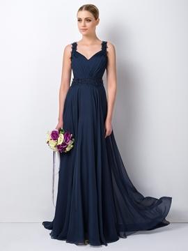 Chic Straps A-Line Long Bridesmaid Dress