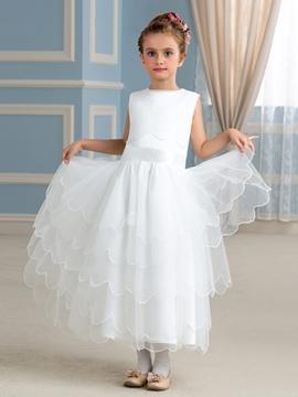 Classical Jewel A Line Flower Girl Dress
