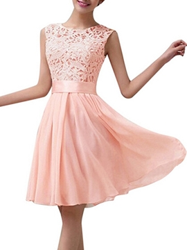 Classical Lace Knee Length Bridesmaid Dress