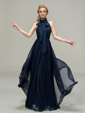 Classy High Neck Sleeveless A-Line Long Bridesmaid Dress