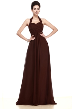 Column Brown Halter Taline's Prom-Bridesmaid Dress