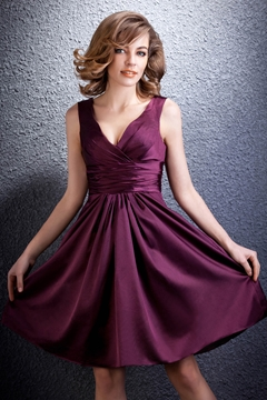 Concise A-line Short-Mini Length V-Neck Daria's Bridesmaid Dress