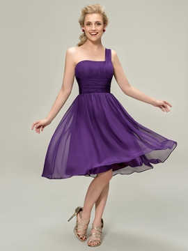 Concise One-Shoulder Ruched Knee-Length Bridesmaid Dress