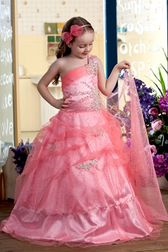 Cute Ball Gown One-Shoulder Floor-length Pleats Flower Girl Dress