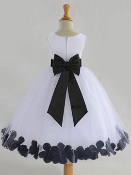 Cute Jewel Bowknot Ball Gown Flower Girl Dress