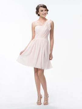 Cute One Shoulder A Line Short-Mini Ruffles Bridesmaid Dress