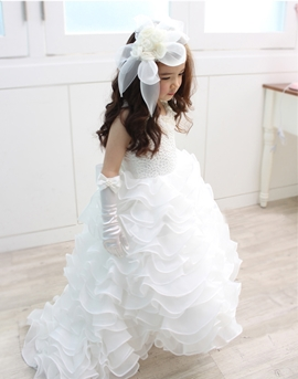 Cute Scoop Beadings Flower Girl Dress