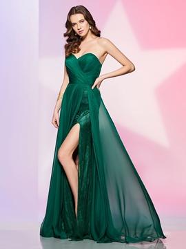 Designer A Line Sweetheart Side Slit Floor Length Prom Dress
