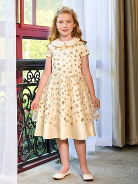 Doll Collar A Line Short Sleeves Knee Length Flower Girl Dress